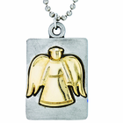 Nickel Silver Gold Angel On 18 Inch Stainless Steel Chain