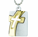 Nickel Silver Gold Cross Dog Tag On 18 Inch Stainless Steel Chain