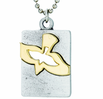 Nickel Silver Gold Dove Dog Tag On 18 Inch Stainless Steel Chain