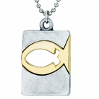 Nickel Silver Gold Fish Dog Tag On 18 Inch Stainless Steel Chain