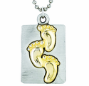 Nickel Silver Gold Footprint Dog Tag On 18 Inch Stainless Steel Chain