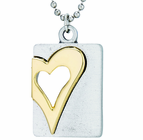 Nickel Silver Gold Heart Dog Tag On 18 Inch Stainless Steel Chain