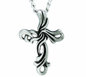 Nickel Silver Ribbon Cross Pendant On 24 Inch Stainless Steel Chain