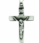 Our Father Sterling Silver Crucifix On 24 Inch Stainless Steel Chain