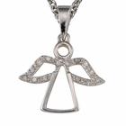 """Outline Angel Necklace with CZ Stone Wings on 18"""" Chain"""