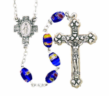 Oval Blue Imitation Murano Bead Rosary With Silver Crucifix