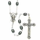 Oval Hematite Bead Rosary With Silver Crucifix