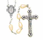 Oval Tear Drop Pearl Bead Rosary With Silver Crucifix