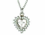 Pearl Heart Silver Cross Pendant On 18 Inch Stainless Steel Chain