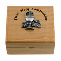 Personalized First Holy Communion Maple Wood Keepsake Box