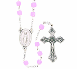 Pink Glass Cube Bead Rosary With Silver Crucifix