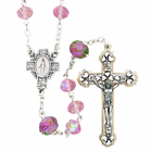 Pink Glass Cut Flower Our Father Rosary With Silver Crucifix