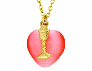 Pink Heart Gold Chalice On 18 Inch Gold Chain