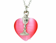 Pink Heart Silver Chalice On 18 Inch Stainless Steel Chain