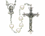 Plastic Pearl Heart Bead Rosary With Silver Crucifix On 16 Inch Chain