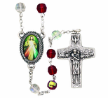 Red Crystal Beads With Silver Divine Mercy Jubilee Medal