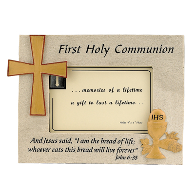 Resin Photo Frame With Holy First Communion Symbols For 4 X 6 Photo