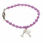 Rose Bead Bracelet with Cross and Chalice Charms