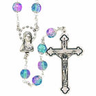Round Capped Glass Amethyst Bead Rosary With Silver Crucifix