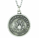 Round Sterling Silver Air Force St. Michael On Back Medal On 24 Inch Stainless Steel Chain