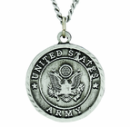 Round Sterling Silver Army St. Michael On Back Medal On 24 Inch Stainless Steel Chain