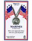 Round Sterling Silver Marines St. Michael On Back Medal On 24 Inch Stainless Steel Chain