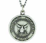 Round Sterling Silver Navy St. Michael On Back Medal On 24 Inch Stainless Steel Chain