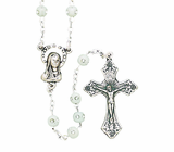 Round White Bead CZ Center Rosary With Silver Crucifix