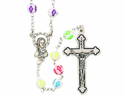Round White Color Cross Bead Rosary With Silver Crucifix