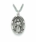 Saint Andrew 1 inch Patron of Fishermen Nickel Silver Engraved Medal on 24 inch Chain