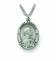 Saint Francis 1 inch Patron of Animals  Nickel Silver Engraved Medal on 24 inch Chain