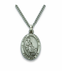Saint Matthew 1 inch Patron of Accountants & Bankers  Nickel Silver Engraved Medal on 24 inch Chain