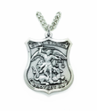 "Saint Michael Nickel Silver Policeman Badge on a 24"" chain"