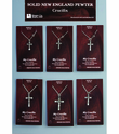 Scroll Ends Sterling Silver Crucifix On 18 Inch Stainless Steel Chain