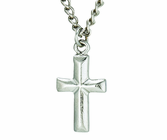 Silver Cross Pendant On 18 Inch Stainless Steel Chain