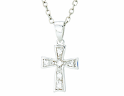 Silver Plated April Birthstone Flare Cross Pendant On 16 Inch Stainless Steel Chain