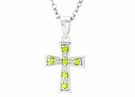 Silver Plated August Birthstone Flare Cross Pendant On 16 Inch Stainless Steel Chain