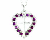 Silver Plated Cross In Amethyst Colored CZ Stone Heart Pendant On 18 Inch Stainless Steel Chain