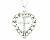 Silver Plated Cross In Crystal CZ Stone Heart Pendant On 18 Inch Stainless Steel Chain