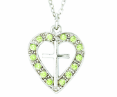 Silver Plated Cross In Peridot Colored CZ Stone Heart Pendant On 18 Inch Stainless Steel Chain