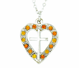 Silver Plated Cross In Topaz Colored CZ Stone Heart Pendant On 18 Inch Stainless Steel Chain