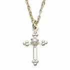 Silver Plated Cross Necklace with Pearl in the Center