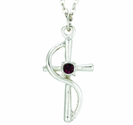 Silver Plated Cross Wire With Amethyst Colored CZ Crystal Stone Pendant On 18 Inch Stainless Steel Chain