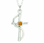 Silver Plated Cross Wire With Topaz Colored CZ Crystal Stone Pendant On 18 Inch Stainless Steel Chain