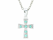 Silver Plated December Birthstone Flare Cross Pendant On 16 Inch Stainless Steel Chain