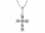 Silver Plated Feburary Birthstone Flare Cross Pendant On 16 Inch Stainless Steel Chain