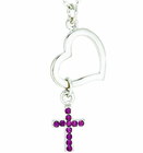 Silver Plated Heart Dangle Amethyst Colored CZ Stone Cross Pendant On 18 Inch Stainless Steel Chain