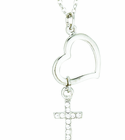 Silver Plated Heart Dangle Crystal CZ Stone Cross Pendant On 18 Inch Stainless Steel Chain