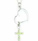 Silver Plated Heart Dangle Peridot Colored CZ Stone Cross Pendant On 18 Inch Stainless Steel Chain