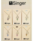 Silver Plated Heart Dangle Topaz Colored CZ Stone Cross Pendant On 18 Inch Stainless Steel Chain